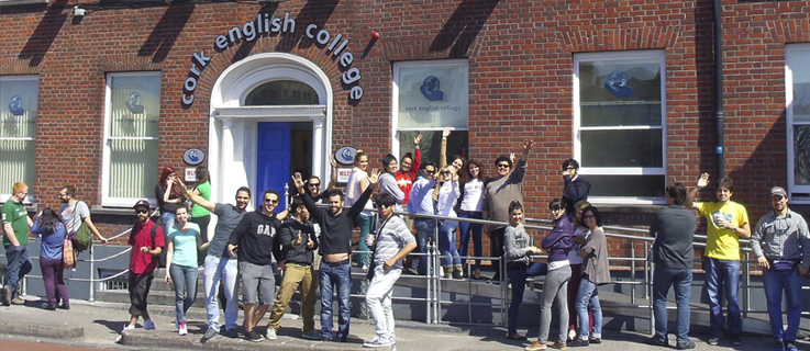 Students outside CEC - Learn English in Cork Ireland